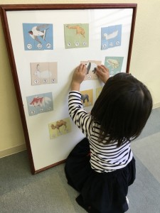 動物パズルで文字への導入