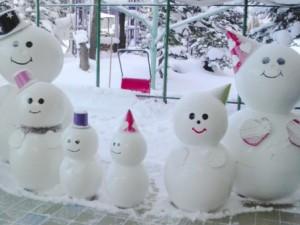 雪景色 冬 雪だるま