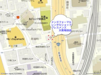 礼服レンタルショップ地図大阪 梅田