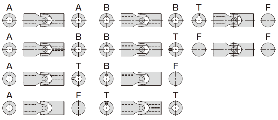 軸穴の組み合わせ