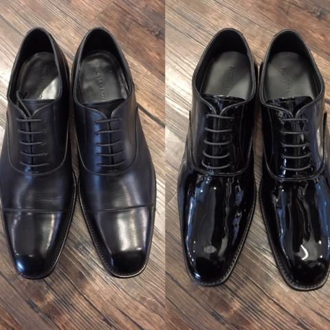 フォーマル皮革靴とエナメル靴の違い大阪梅田