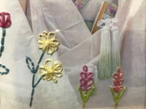 レゼーデージーステッチでお花や葉を表現