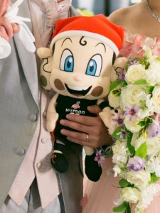 大阪エヴェッサさんの公式キャラクターまいどくんもお出迎えしてくれます♪